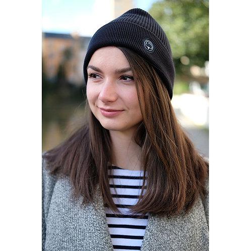 Bonnet mixte noir en coton BIO
