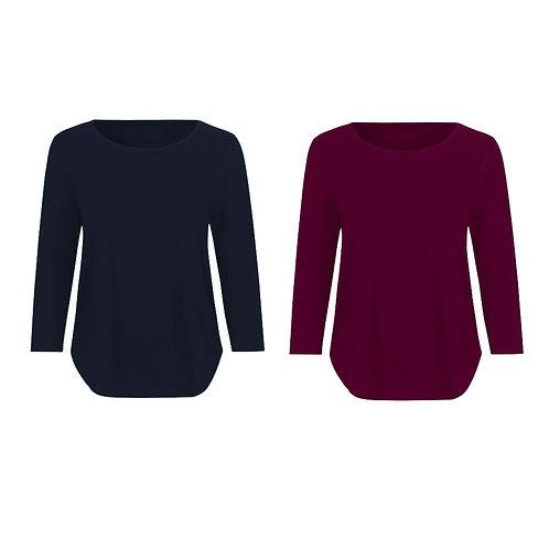 Pack duo - 2 t-shirts manches 3/4 femmes gris chiné en coton BIO au ch