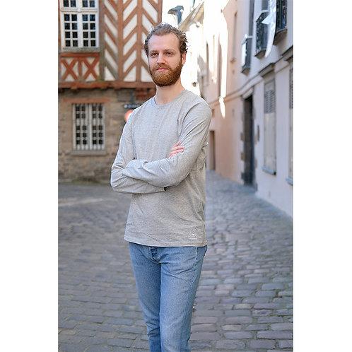 T-shirt manches longues hommes gris chiné en coton BIO