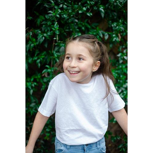 T-shirt blanc enfants (mixte) en coton BIO