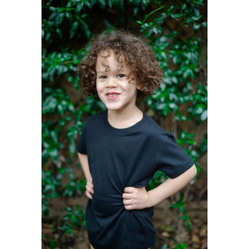T-shirt noir enfants (mixte) en coton BIO