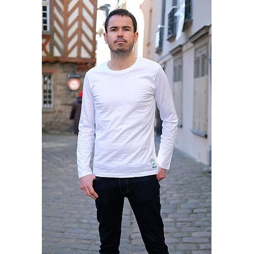 T-shirt manches longues hommes blanc en coton BIO