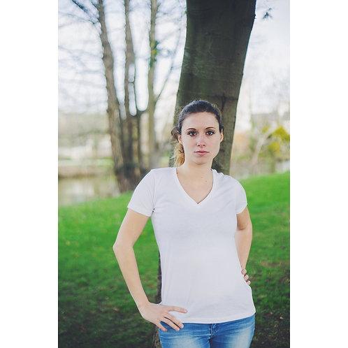 T-shirt Femme col V blanc en coton BIO