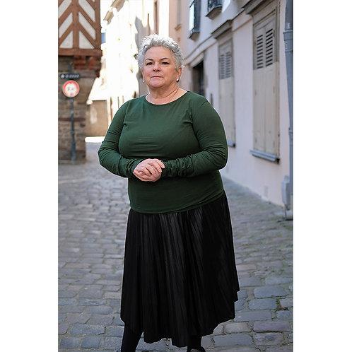 T-shirt manches longues femmes vert bouteille en coton BIO