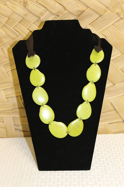 Sliced Tagua 1 Strand Lime Green