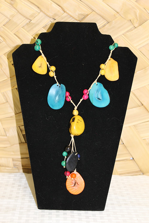 Tagua Necklace Yellow and Blue