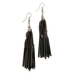 Striped Strand Black Bead Earrings