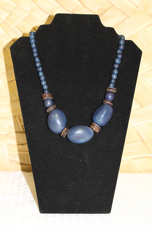 Whole Bead (3) Necklace Blue