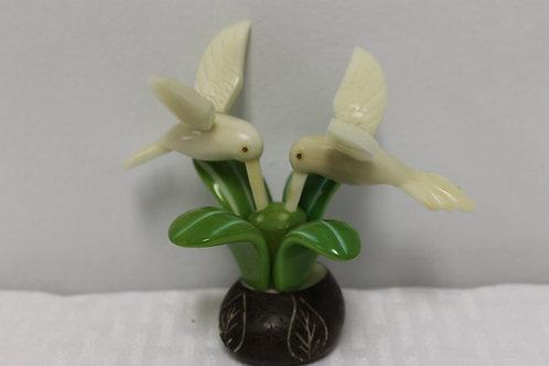 Light Green Hummingbird on Flower 2pc