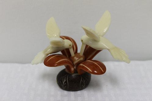 Tan Hummingbird on Flower 2pc