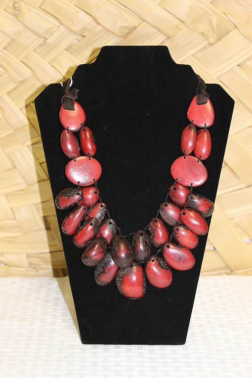 Red Necklace 2 Strand with Leather Tie