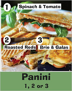 panini sandwiches - spinach & tomato, roasted red pepers, brie & galas