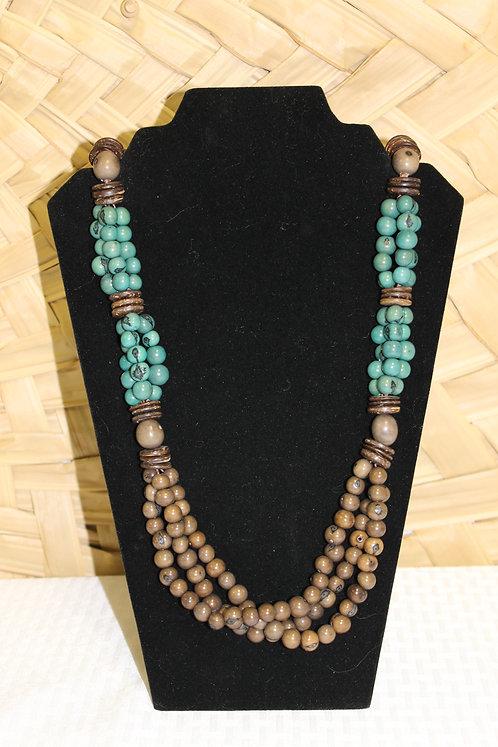 Acai Necklace Blue and Tan