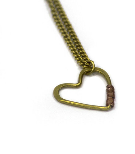 Lifted Heart Wire Pendant Necklace