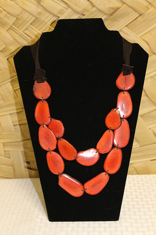 Necklace with Sliced Tagua Red