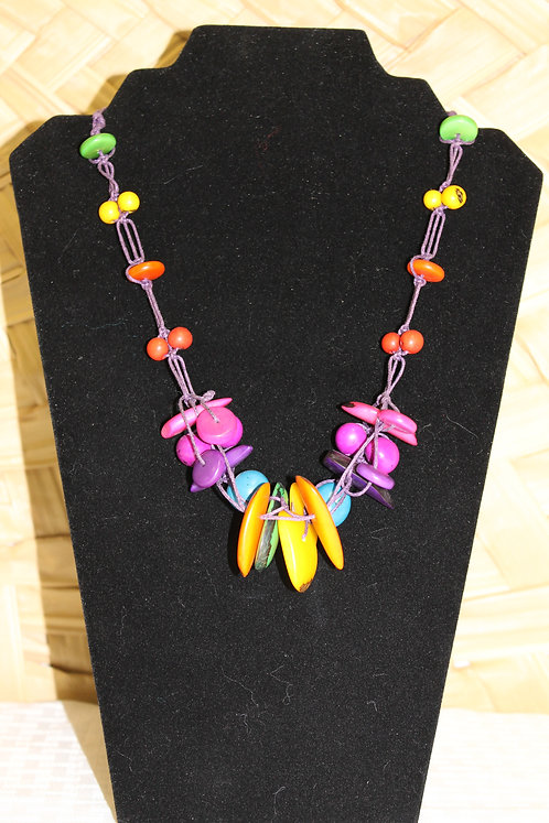 11C Tagua Necklace  Multi-Color