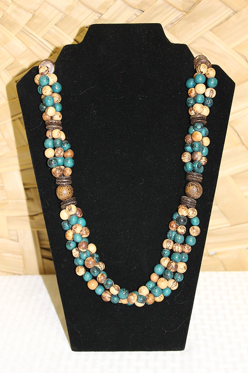 Necklace with Acai Blue and Tan