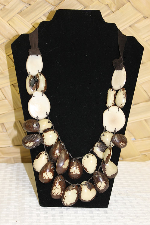 2 Strand Nude Necklace with Leather Strap