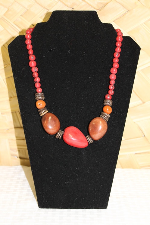 Whole Bead (3) Necklace Red
