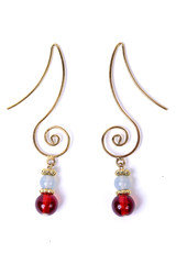 Geometric Swirl Earrings - Gold With Red Glass