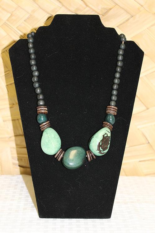 Whole Bead (3) Necklace Dark Green