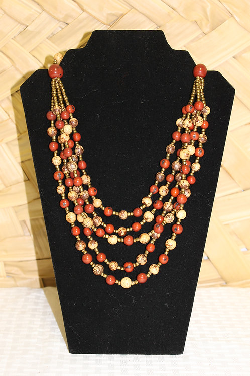 Acai Necklace Red and Tan