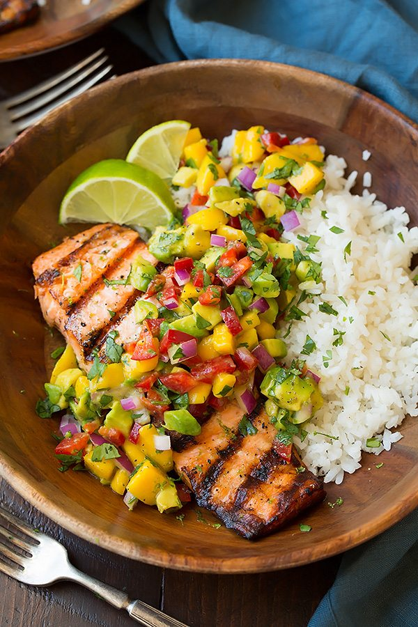 Salmon with Avocaso Salsa and Rice