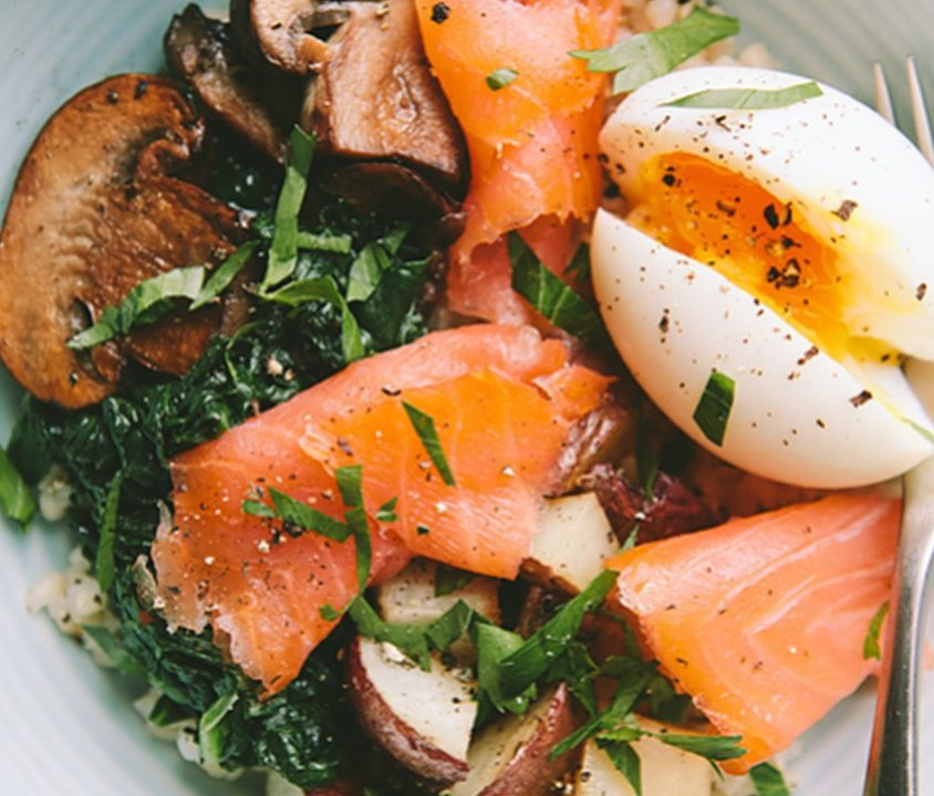 Smoked Salmon Salad, Potato & Mushroom Salad