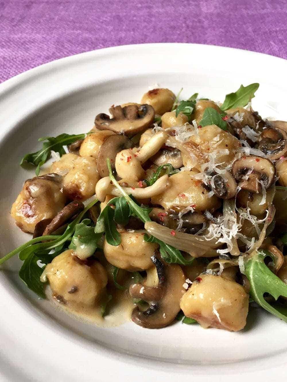 Mushroom Gnocchi in a creamy white wine sauce