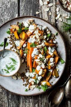 Roasted Beetroot Carrot Lentil Salad