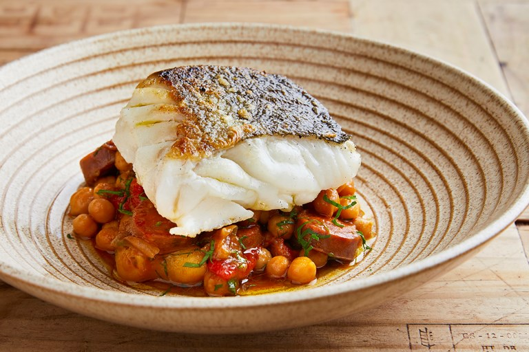 Barramundi with Chickpea Stew