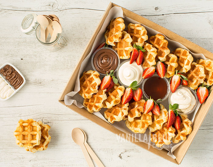 Waffles with Chocolate Dipping Sauce