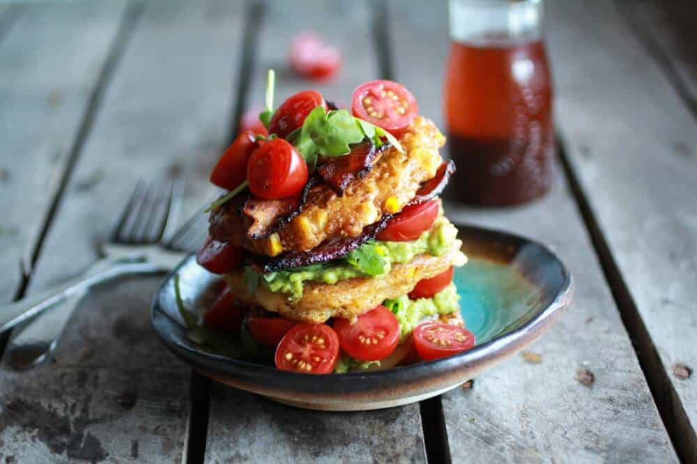 Avocado-Corn-Fritter-Stack