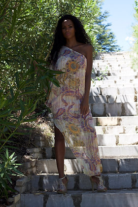 Asymmetrical print dress, one shoulder