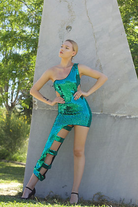 Green Sequin Asymmetric Dress