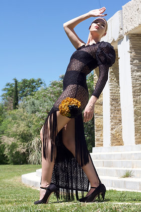 Black asymmetrical lace & fringed dress