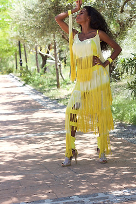 Yellow asymmetrical pants & top  fringes