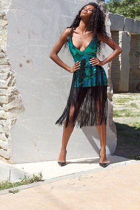 Asymmetrical Sequin & Fringed Dress