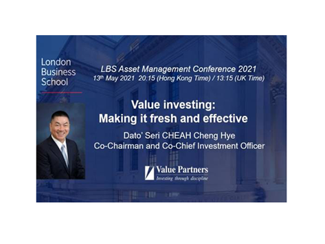 VALUE PARTNERS DATO' SERI CHEAH CHENG HYE TO APPEAR AT LONDON BUSINESS SCHOOL ASSET MANAGEMENT CONFE