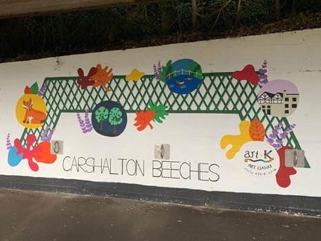 art-k unveils mural at Carshalton Beeches Station paying tribute to local lavender heritage