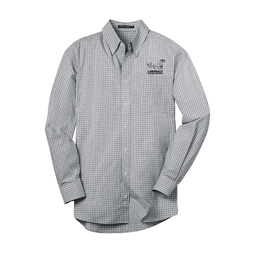 Embroidered Gingham Long Sleeve Button-Up