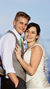 Beautiful bride and groom at the Cape Fear River, Wilmington, NC