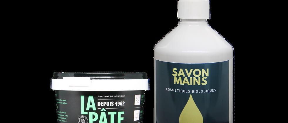 Lot Savon La Pâte Verte 300g  et savon mains Bio liquide Olive