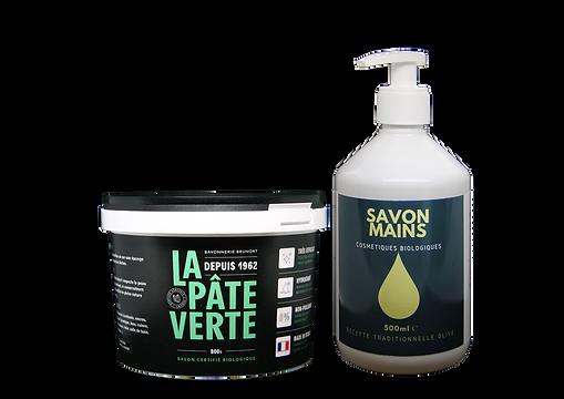 Lot Savon La Pâte Verte 800g et savon mains Bio liquide Olive