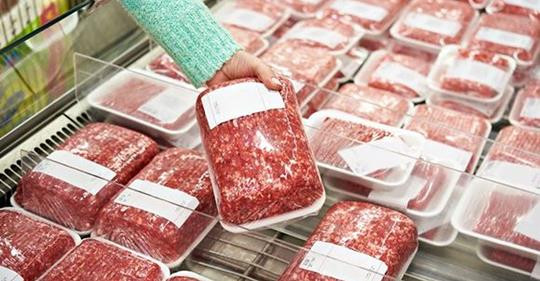 Packages of beef at the super market