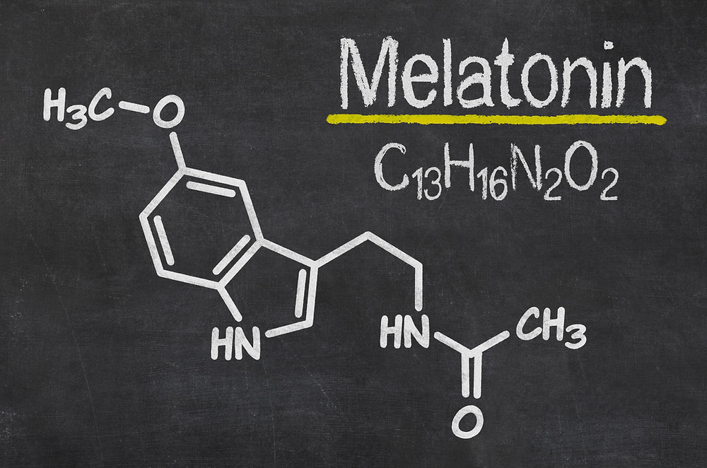 Chemical composition of Melatonin on a black board