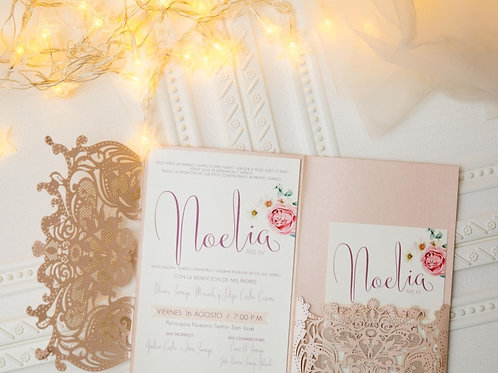 Goddess Lace Tri-Fold Pocket Invitation Suite