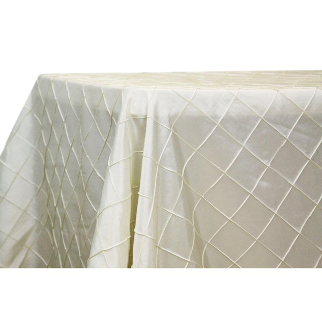 Pintuck Ivory Satin Rectangle Table Cloth $12.50