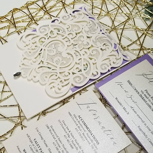 Over-the-Top Lace Panel Pocket Invitation Suite