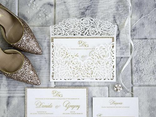 Rose Design Envelope Style Invitation Suite